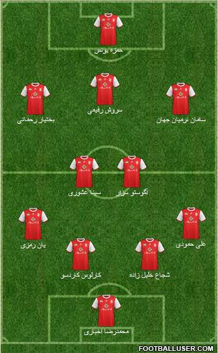 Teraktor-Sazi Tabriz 4-2-3-1 football formation