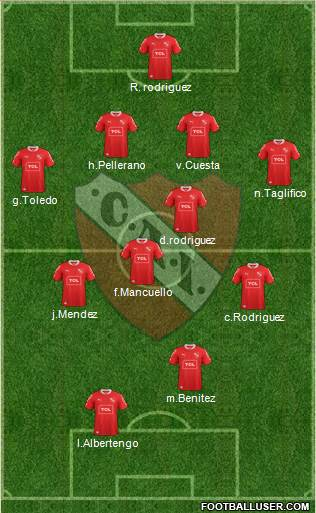Independiente 4-2-4 football formation