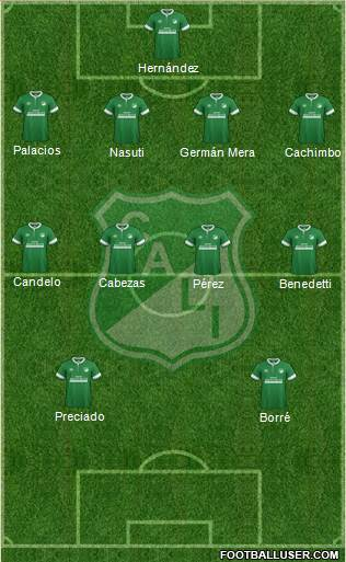 AC Deportivo Cali 4-5-1 football formation