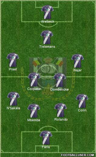 RSC Anderlecht 4-4-1-1 football formation