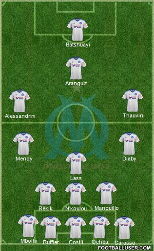 Olympique de Marseille 3-5-1-1 football formation