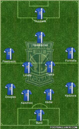 Lech Poznan 4-4-1-1 football formation