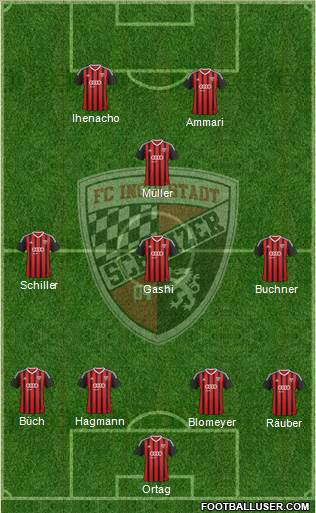 FC Ingolstadt 04 4-3-1-2 football formation