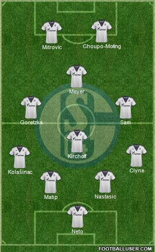 FC Schalke 04 4-3-1-2 football formation