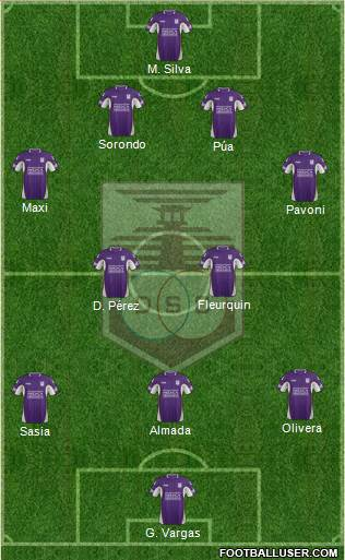 Defensor Sporting Club 4-5-1 football formation