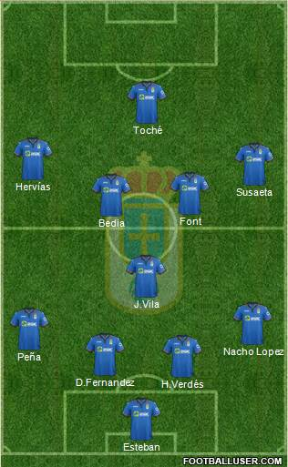 Real Oviedo S.A.D. 4-1-2-3 football formation