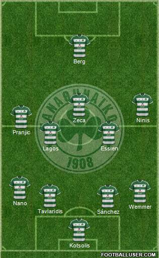 Panathinaikos AO 4-5-1 football formation