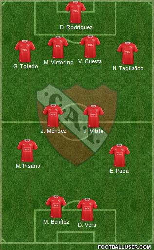 Independiente 4-2-2-2 football formation