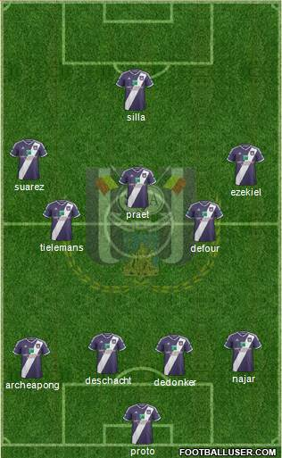 RSC Anderlecht 4-5-1 football formation