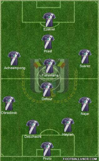 RSC Anderlecht 4-1-3-2 football formation