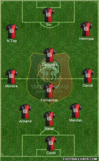 Stade Rennais Football Club 4-5-1 football formation