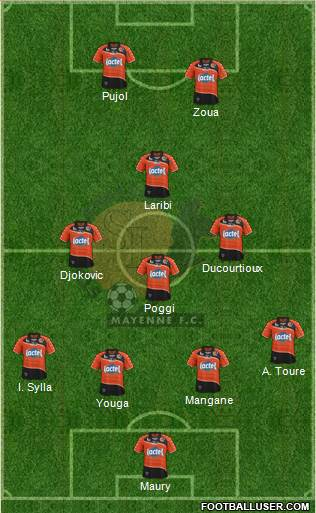 Stade Lavallois Mayenne FC 3-5-1-1 football formation