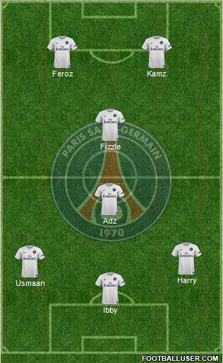 Paris Saint-Germain 5-4-1 football formation