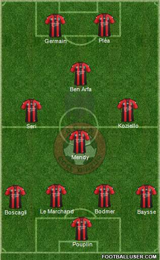 OGC Nice Côte d'Azur 4-3-1-2 football formation