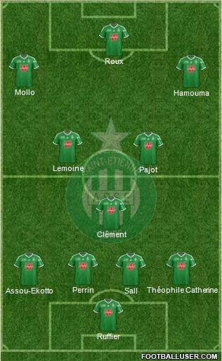 A.S. Saint-Etienne 5-4-1 football formation