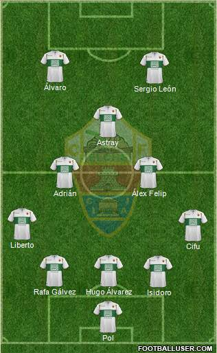 Elche C.F., S.A.D. 5-3-2 football formation