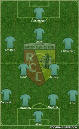 Racing Club de Lens 4-2-3-1 football formation