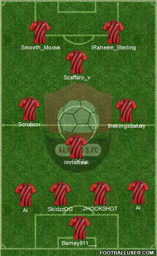 Al-Ra'eed 4-4-2 football formation