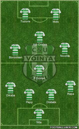 CSU Vointa Sibiu 4-1-3-2 football formation