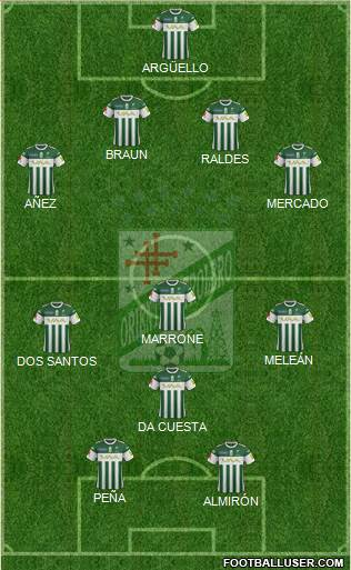 C Oriente Petrolero 4-1-4-1 football formation