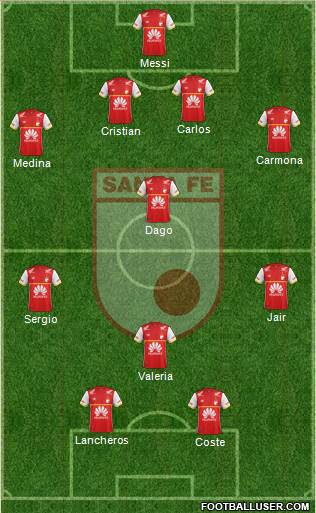 Santa Fe CD 4-1-3-2 football formation