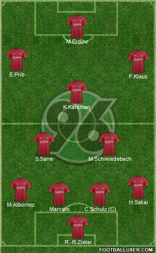 Hannover 96 4-2-1-3 football formation