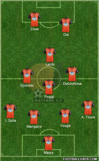 Stade Lavallois Mayenne FC 3-4-3 football formation
