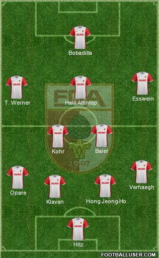 FC Augsburg 3-4-3 football formation