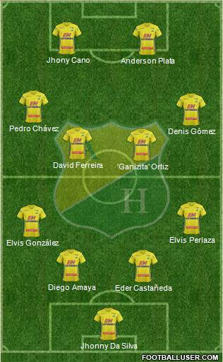CD Atlético Huila 4-4-2 football formation