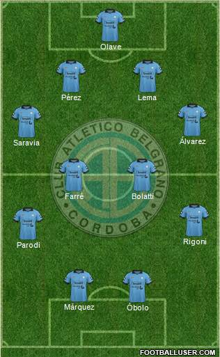 Belgrano de Córdoba 4-1-4-1 football formation