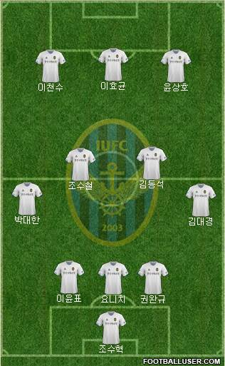 Incheon United 3-5-1-1 football formation