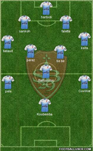 Stade Brestois 29 4-5-1 football formation