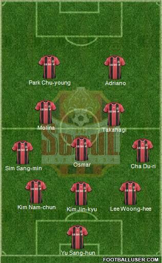 FC Seoul 3-5-2 football formation