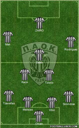 AS PAOK Salonika 4-5-1 football formation