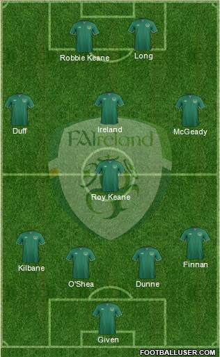 Ireland 4-1-3-2 football formation