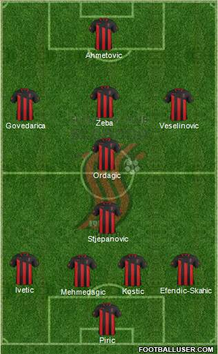 FK Sloboda Tuzla 4-5-1 football formation