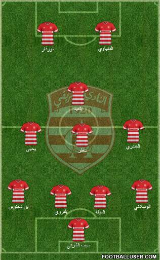 Club Africain Tunis 4-1-4-1 football formation