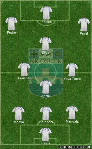 NK Osijek 3-4-3 football formation
