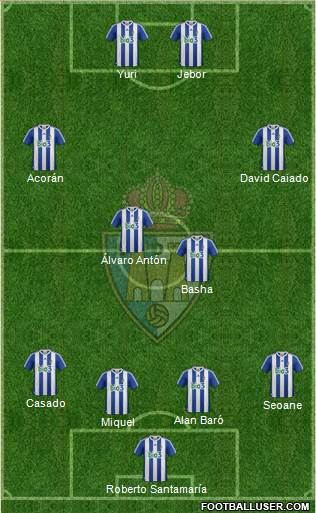 S.D. Ponferradina 4-4-2 football formation