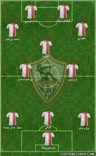 Zamalek Sporting Club 3-4-2-1 football formation