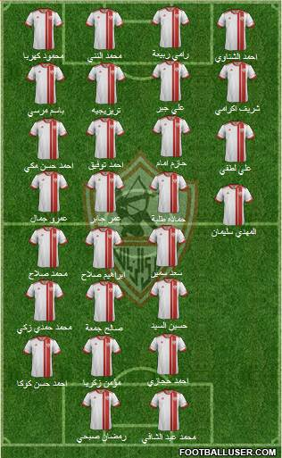 Zamalek Sporting Club 4-1-3-2 football formation