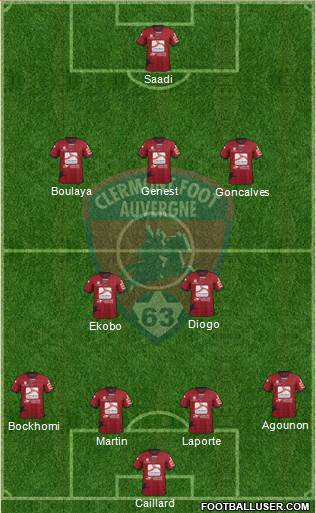 Clermont Foot Auvergne 63 4-2-3-1 football formation