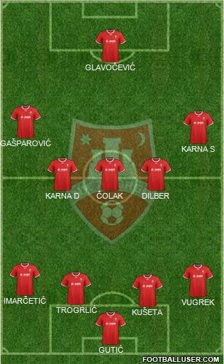 NK Zagreb 4-3-2-1 football formation