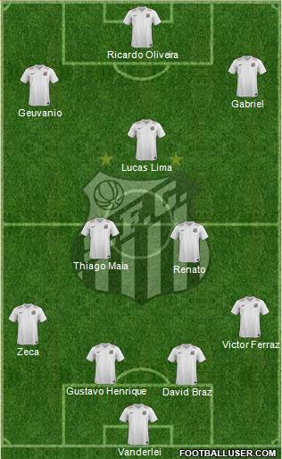 Santos FC 4-2-1-3 football formation