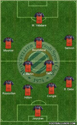 Montpellier Hérault Sport Club 3-5-1-1 football formation