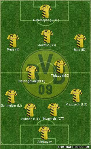 Borussia Dortmund 4-3-1-2 football formation