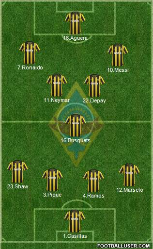 Kairat Almaty 4-1-2-3 football formation