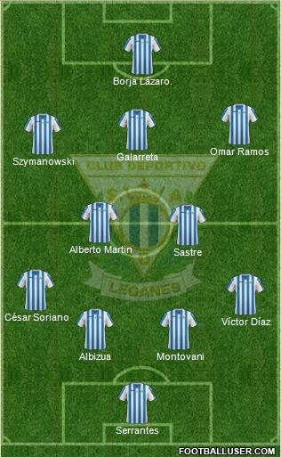 C.D. Leganés S.A.D. 4-3-2-1 football formation