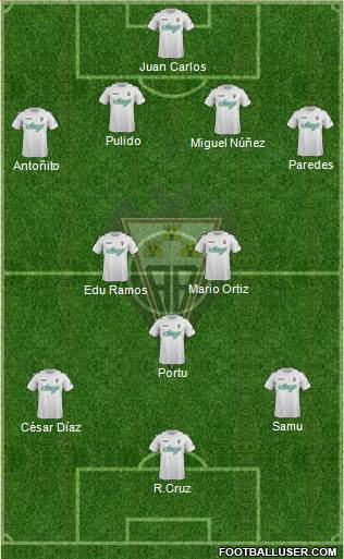 Albacete B., S.A.D. 4-3-2-1 football formation