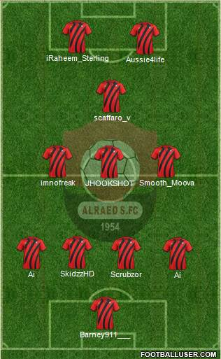 Al-Ra'eed 4-3-1-2 football formation